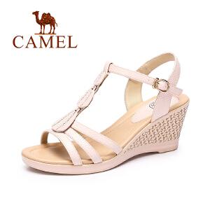 Camel/骆驼女凉鞋 夏季新款甜美水钻凉鞋女 坡跟高跟百搭凉鞋
