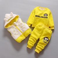 宝宝衣服婴儿童棉衣女童套装卫衣三件套