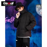 森马潮牌GLEMALL 加绒加厚短款羽绒服男轻便保暖防风立领外套 黑色