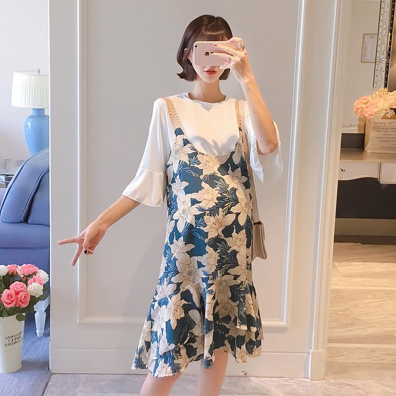 2019新款时尚外出雪纺裙两件套夏季孕妇连衣裙春装夏装套装