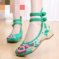 春夏老北京绣花布鞋坡跟民族风红色平底复古式婚鞋舞鞋女单鞋