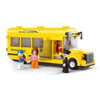 �和�益智玩具拼�b�模型拼插�e木小�w粒巴士拼�D