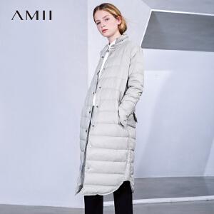 Amii[极简主义]冬女装新品翻领长袖90绒长款羽绒11673169