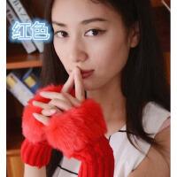 【3折到手价19】茉蒂菲莉 半指手套女 秋冬季加厚保暖半指可爱女士毛线针织学生时尚键盘手套