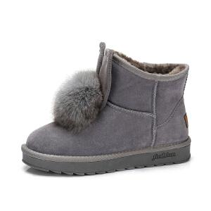 camel骆驼女靴 2017秋冬新款 可爱兔耳朵纯色雪地靴毛绒球保暖短筒靴子