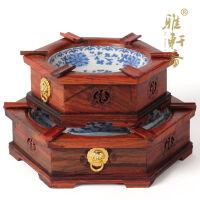 复古个性中式烟灰缸套装 红木创意酸枝木质烟缸工艺品