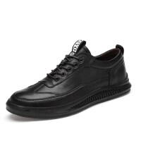 品牌夏季英伦男士全黑色板鞋大码运动鞋休闲皮鞋韩版纯黑年轻人男鞋子
