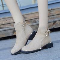 秋冬2019新款纯色短筒女靴子欧式潮流厚度中跟女靴子粗跟时尚百搭