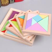 木质七巧板智力拼图小学生用一年级教学教具套装儿童拼图玩具