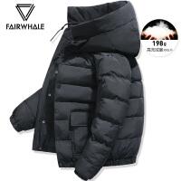 马克华菲羽绒服男短款2020冬季保暖青年休闲连帽新款夹克外套
