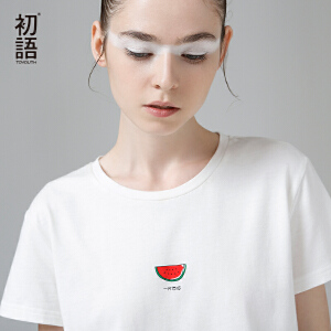 初语   夏季新品   奇趣西瓜字母印花短袖圆领T恤