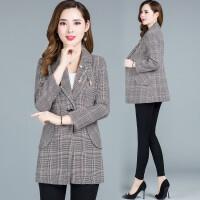 女士短外套秋装2018新款韩版春时尚休闲百搭长袖西装领格子上衣潮 格子