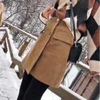谜秀秋冬半身裙女2017新款韩版修身高腰灯芯绒A字裙短款裙子冬潮