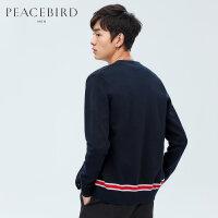 太平鸟男装 春季新款藏蓝色V领开衫商务休闲毛衫外套潮B1EA81118