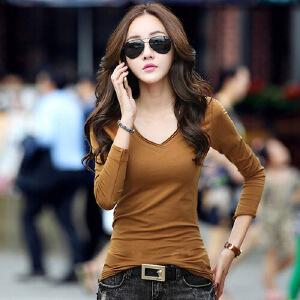 春秋新款女装t恤韩版大码修身长袖t恤女上衣纯色V领打底衫棉WK0827