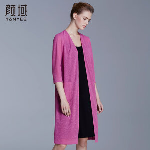 颜域品牌女装2018春夏新款七分袖中长外披款大码轻薄弹性针织开衫