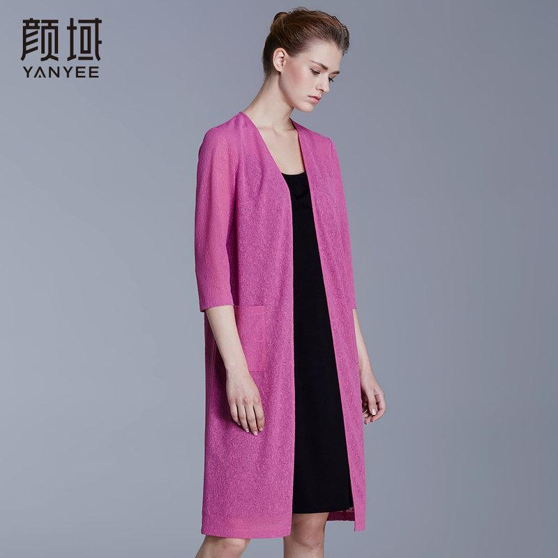 颜域品牌女装2018春夏新款七分袖中长外披款大码轻薄弹性针织开衫轻薄弹性 透气舒适 知性优雅