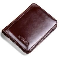 短款钱包男韩版多功能复古驾驶证皮套钱夹竖款牛皮青年皮夹子 棕色二折页