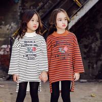 女童卫衣外套加厚打底衫2017秋冬韩版新款童装儿童中长款条纹潮衣