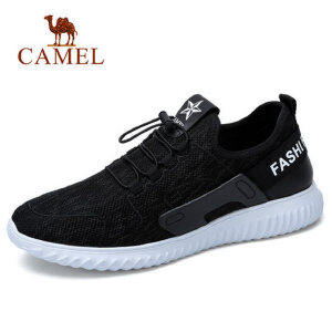 camel 骆驼男鞋2018春季新款时尚跑步牛皮运动休闲鞋缓震健步鞋男