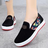 春夏季休闲时尚女士老北京布鞋女鞋学生女单鞋一脚蹬帆布鞋女