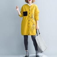 文艺女装200斤胖mm卫衣加厚加绒秋冬宽松大码减龄中长款印花外套