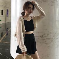 时尚套装女夏新款韩版吊带背心+防晒衣+高腰短裙裤网红三件套