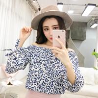 夏装2018女韩版宽松漏肩碎花衬衫女短袖甜美一字领衬衣上衣女