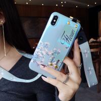 插手带挂绳苹果xs手机壳硅胶iphone8潮牌7p个性创意6splus新款女 6/6S 4.7寸 淡蓝色