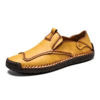 【真牛皮】男士皮鞋男休闲皮鞋男鞋休闲鞋驾车豆豆鞋小皮鞋子 9910浅棕 【套脚】