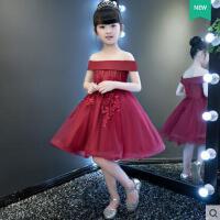 儿童礼服公主裙一字肩酒红小花童婚纱礼服蓬蓬裙主持走秀演出服  支持礼品卡支付