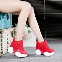 显高12cm运动休闲鞋女韩版潮时尚单鞋帆布红色时尚松糕鞋女士百搭厚底内增高学院风坡跟文艺风超高跟单鞋