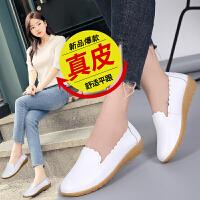 品牌真品女鞋真皮套脚护士小白鞋浅口平底豆豆鞋妈妈鞋时尚潮流