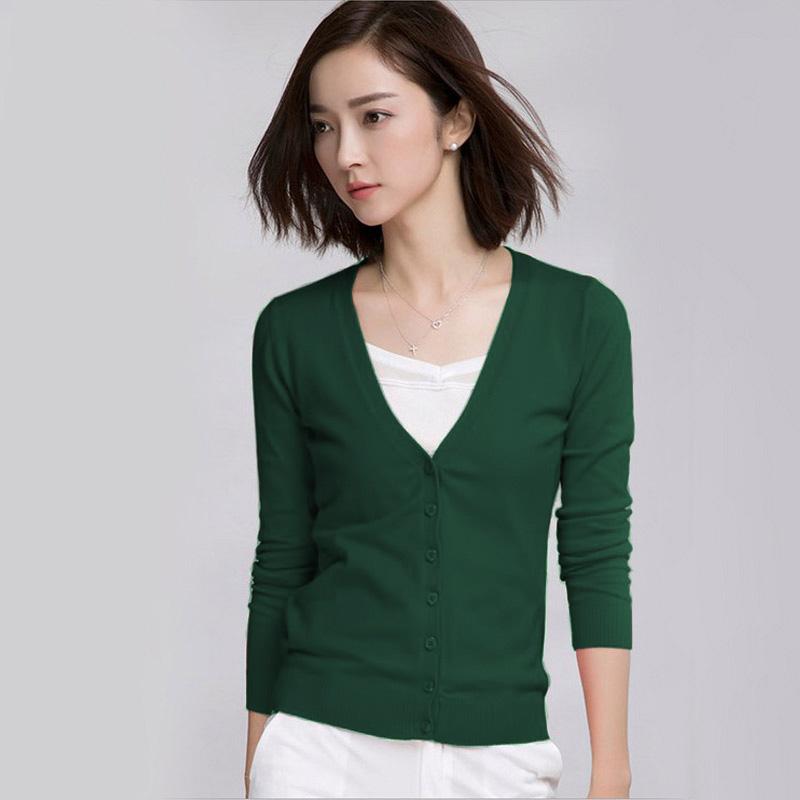 2018秋季新款韩版新款女装 v领薄针织衫女开衫毛衣外套长袖小披肩