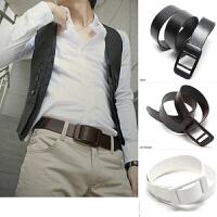 男士塑料扣头韩版无铁金属皮带过安检门针扣腰带男