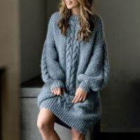 宽松羊毛针织连衣裙女秋冬季2018新款中长款显瘦加厚长袖毛衣裙子 图片色 M