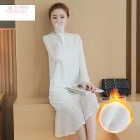 2017冬装新款韩版加绒加厚直筒白色长袖中长款蕾丝连衣裙打底裙