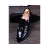 品牌2019英伦男士尖头商务皮鞋套脚布洛克复古潮男鞋子休闲增高男婚鞋 111黑色 标准版