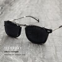 男士墨镜女潮人 套镜小方复古夹片式太阳镜 开车司机眼镜