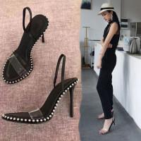 网红凉鞋仙女风2019潮夏季新款一字带双穿透明性感细跟高跟凉鞋女