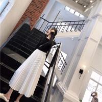 春高腰大摆裙A字裙白色过膝中长款仙女裙百褶裙半身裙褶皱长裙子 白色 裙长80腰围60-90 均码 腰围1尺8伸到2尺3