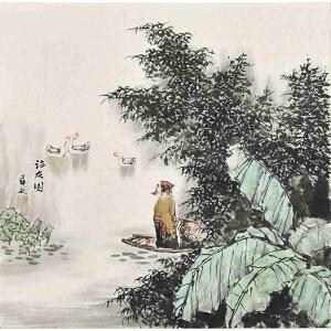 当代著名画家薛永69 X 69CM山水画gs01446