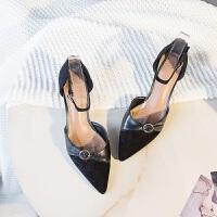 包头凉鞋女细跟高跟鞋尖头中空一字带2019新款韩版夏黑色猫跟鞋夏季百搭鞋