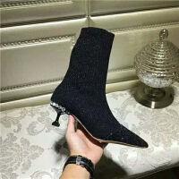 袜子鞋女秋季瘦瘦靴新款单靴尖头中筒靴针织弹力靴短靴细跟高跟鞋