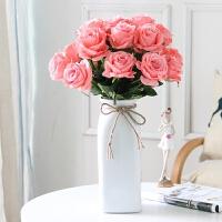玫瑰花束落地塑料花假花客厅装饰花绢花餐桌茶几摆件花艺