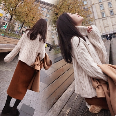 高领毛衣女秋冬装2017新款韩版套头宽松麻花打底衫外穿加厚外套潮高领加厚 保暖百搭