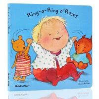 英文原版绘本 Ring a Ring o' Roses玫瑰花环 Child's Play出版 低幼儿童启蒙纸板图画书