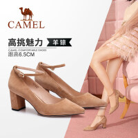 Camel/骆驼女鞋 2018春季新款 性感尖头高跟单鞋简约纯色粗跟鞋女