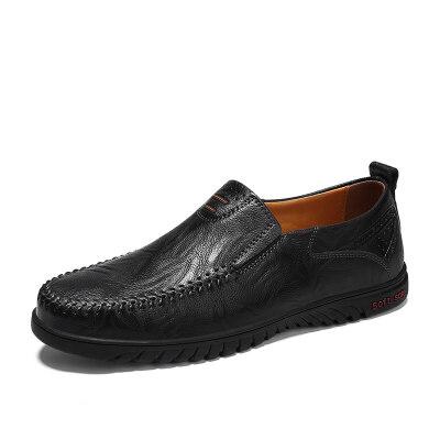 春夏季休闲皮鞋男懒人厨师防水中老年爸爸鞋子男鞋上班黑色工作鞋