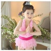 宝宝连体裙式韩国泳衣儿童泳装儿童游泳衣女童中小女童配泳帽  可礼品卡支付